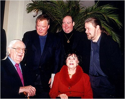 L to R: Robert Wise, William Shatner, David C. Fein (producer), Millicent Wise (in front) and Daren R. Dochterman (visual effects supervisor)