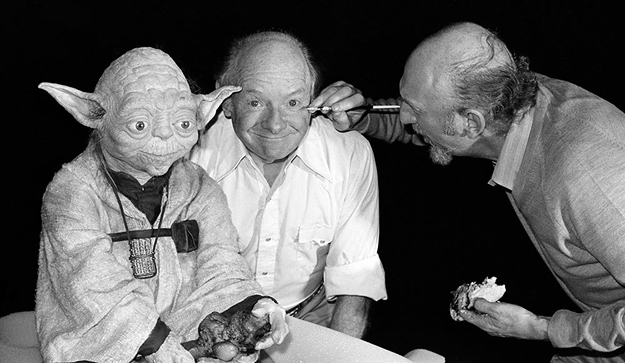 Stuart Freeborn with Yoda and Irvin Kershner