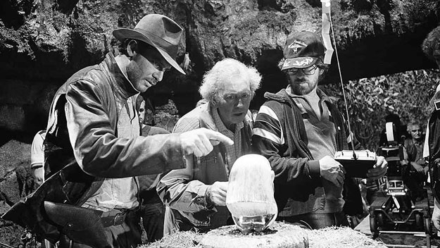 Douglas Slocombe, Harrison Ford & Steven Spielberg on the set of Raiders of the Lost Ark