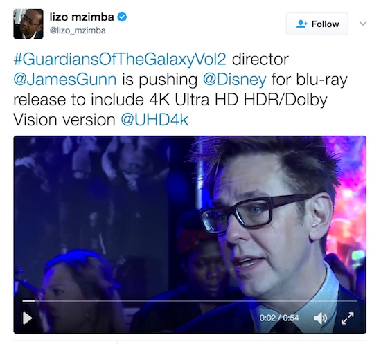Lizo Mzimba's James Gunn tweet 4K
