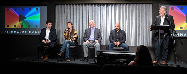 Michael Zink (Warner Bros), Annie Chang (Universal), Ron Martin (Panasonic), Carlos Angulo (VIZIO), and Mike Fiddler (UHDA) on Filmmaker Mode