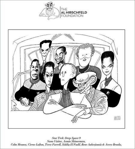 Al Hirschfeld Deep Space Nine cast drawing