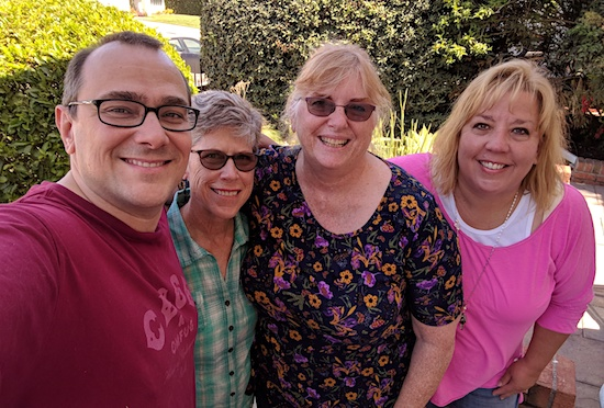 Bill Hunt, Barb, Linda Lukas, and Sarah Hunt - April 2018