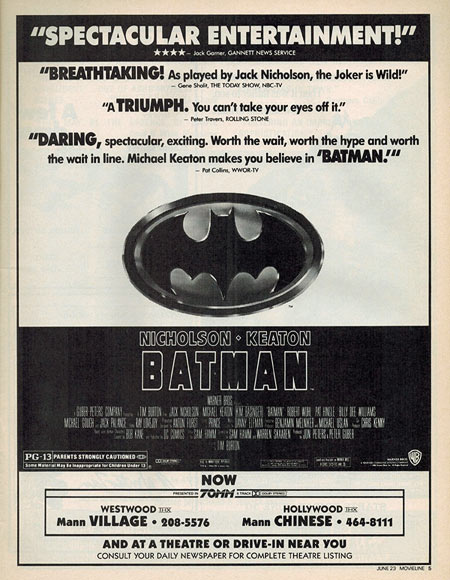 Batman Los Angeles newspaper ad