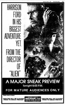 A newspaper ad for a Blade Runner preview screening