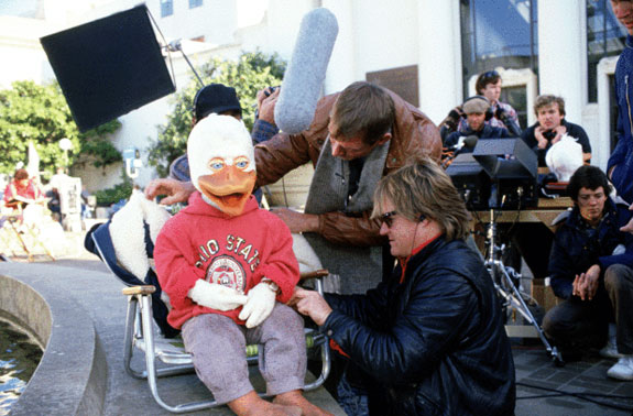 Howard the Duck on set