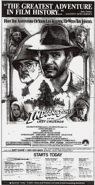 Last Crusade newspaper ad