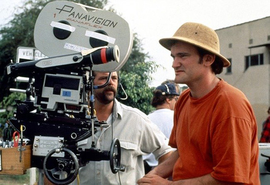 Quentin Tarantino on the set of Pulp Fiction