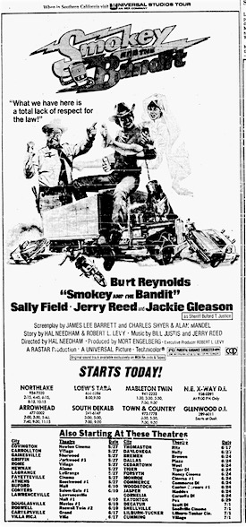 A newspaper ad for Smokey and the Bandit