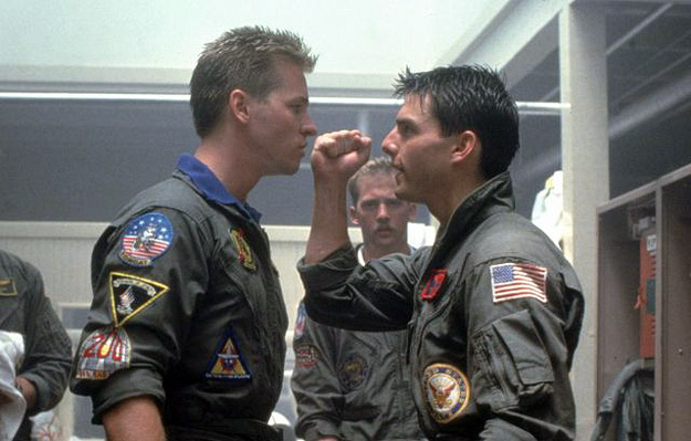 Val Kilmer and Tom Cruise in Top Gun