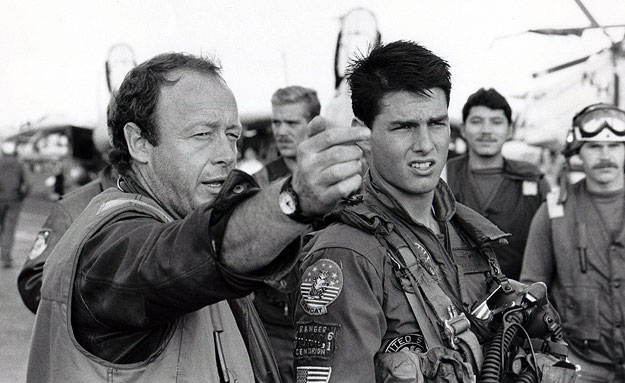 Top Gun director Tony Scott and star Tom Cruise on set