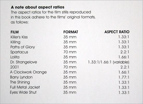 Kubrick Archives Film Aspect Ratios