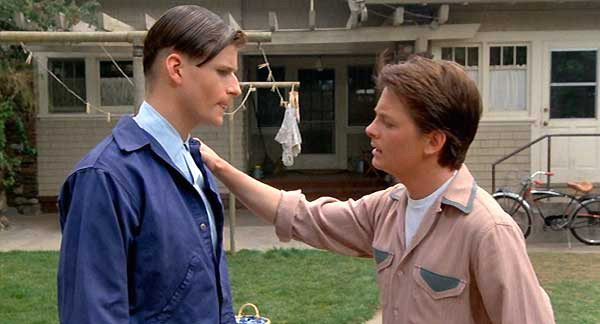 Crispin Glover and Michael J. Fox