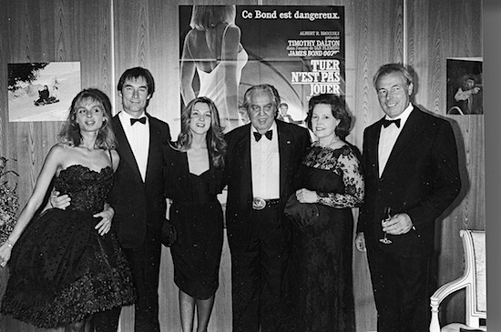 The cast, director, and producers at the premiere of The Living Daylights