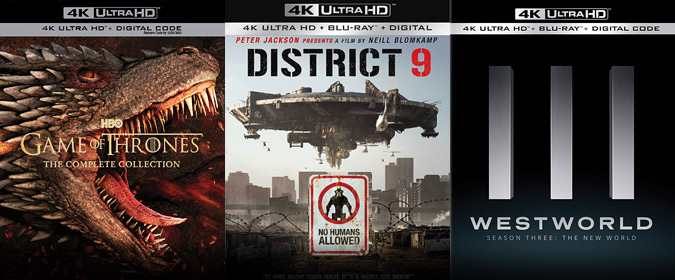 Game of Thrones: The Complete Collection, District 9, and Westworld: S3 are all official for 4K Ultra HD